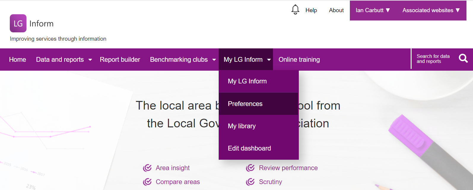 Screenshot showing the contents of the 'My LG Inform' Personalisation Tab: Preferences, My Library and Edit Dashboard links.