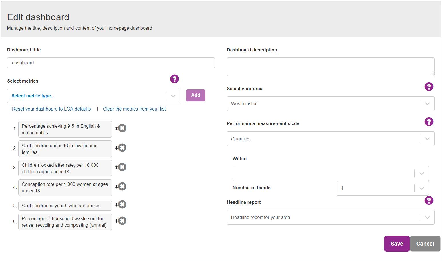 Screenshot showing the Edit Dashboard dialogue box.