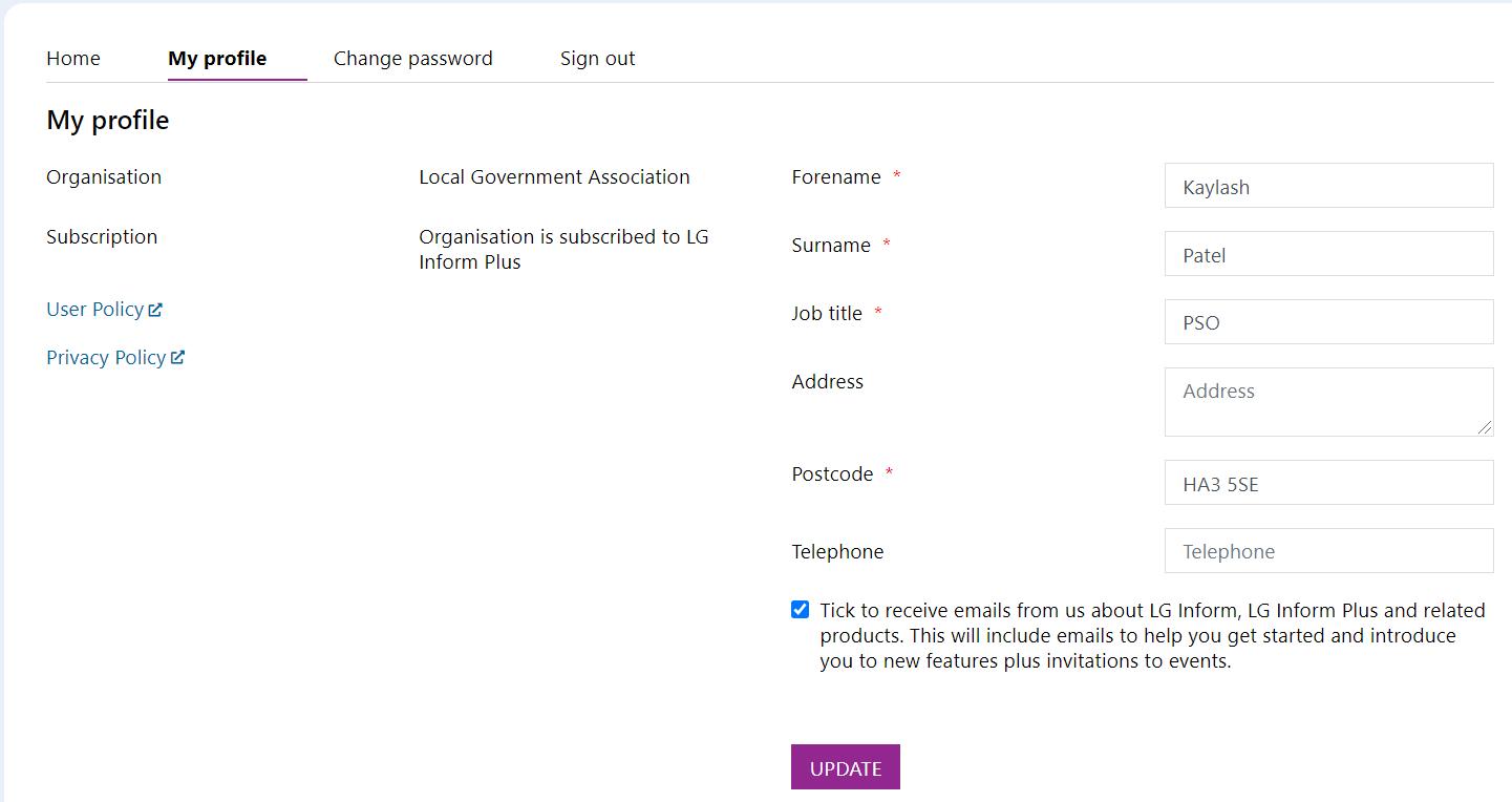 Screenshot of the Edit Profile dialogue box.