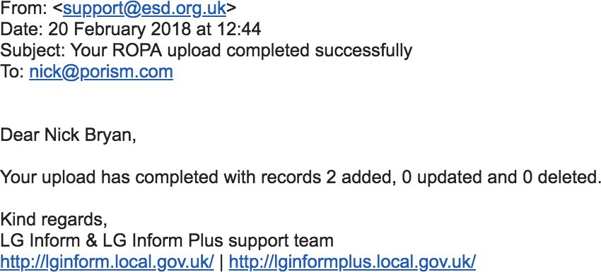 Screenshot of an example email confirmation.
