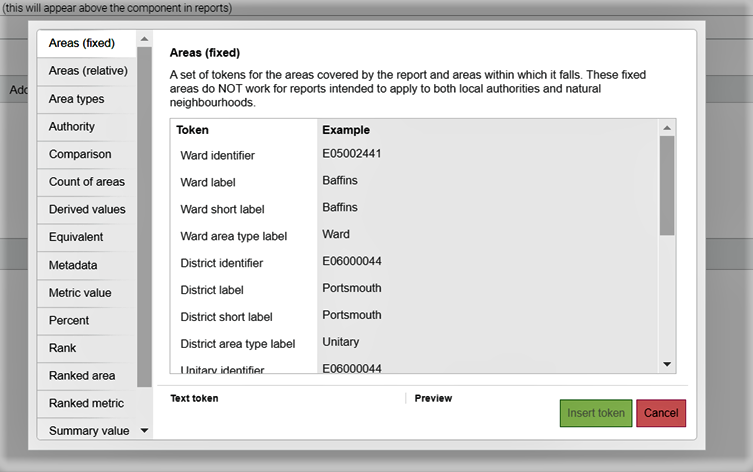 Screenshot showing the Text Token editor and all the available Text Tokens.
