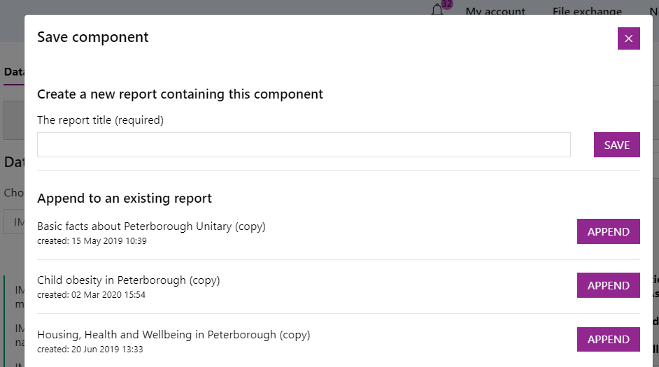 Screenshot of the @Save component' dialogue box prompting you to save it with a title or append it to an existing report.