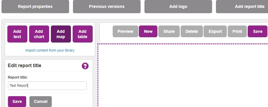 Screenshot showing the add report title dialogue box.