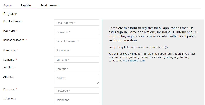 Screenshot of the Registration Form.