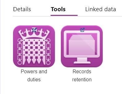 Screenshot of the Tools - The Powers and Duties and The Record Retention Schedules module link