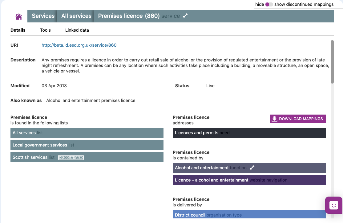 Screenshot showing further details explaining which service or business function is related to the Power or Duty.