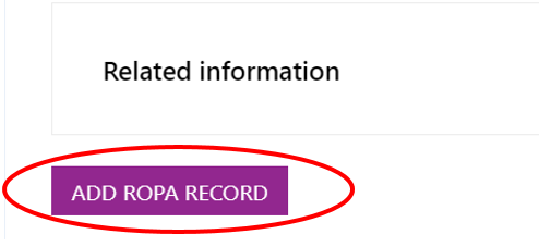 Screenshot showing the 'Add ROPA Record' button discussed above.