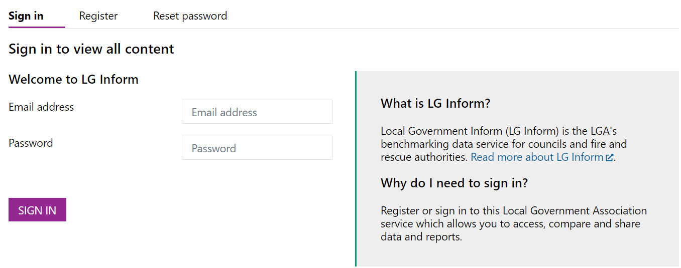 Screenshot of the Sign In Page