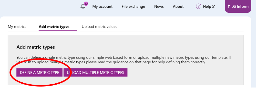 Screenshot showing where the 'Define a metric type' button is located.