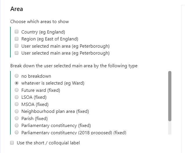 Screenshot of the Area options