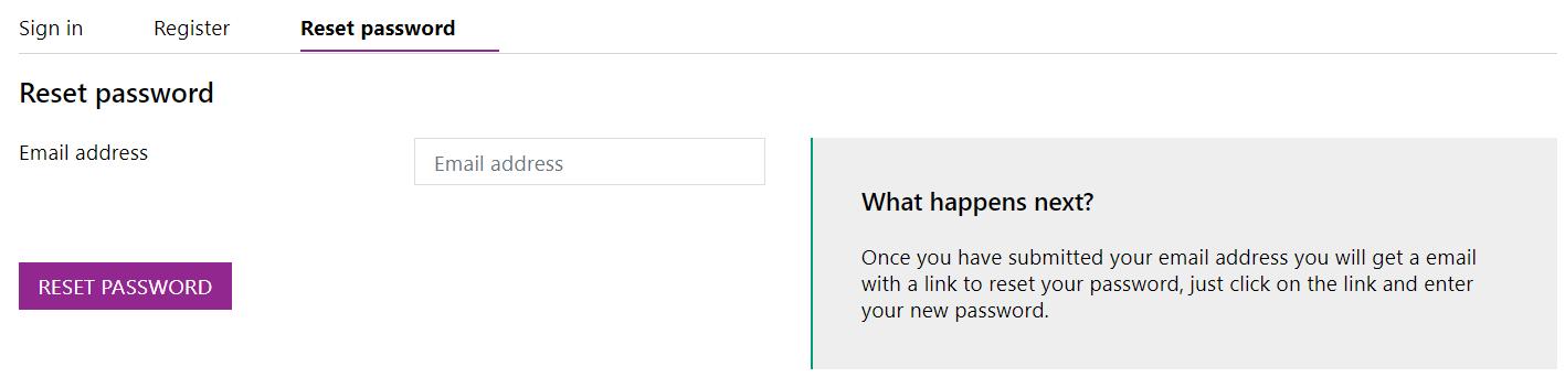 Screenshot of the Reset Password form
