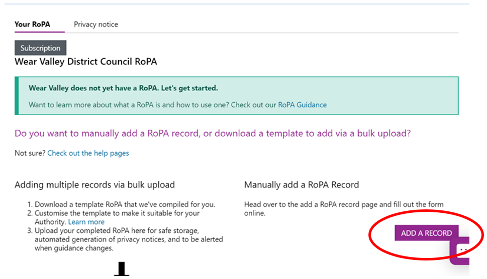 Screenshot highlighting the 'Add Record' option