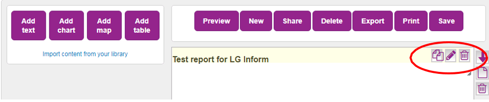 Screenshot showing the three controls available once text has been added to the report. The three controls: coppy, edit or remove feature on the top right hand corner of the text component. All report components have this feature.