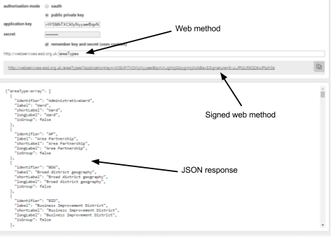 Screenshot of the Web method tool, the application key reference and the code for a JSON response