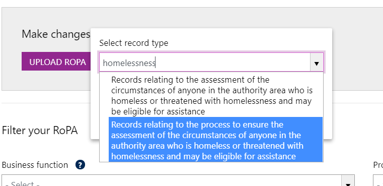 Screenshot showing 'search' results (homelessness) when adding manual records