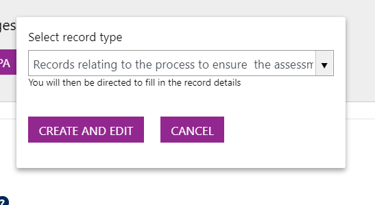Screenshot showing the 'Create and Edit' and 'Cancel' buttons.