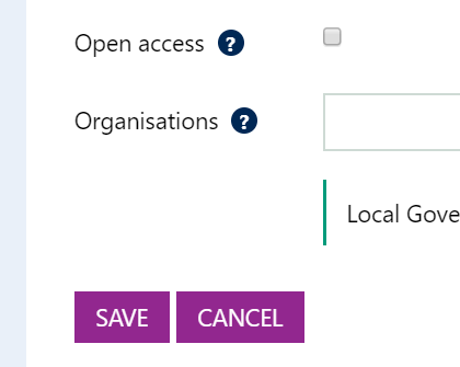 Screenshot showing the 'Save' and 'Cancel' buttons