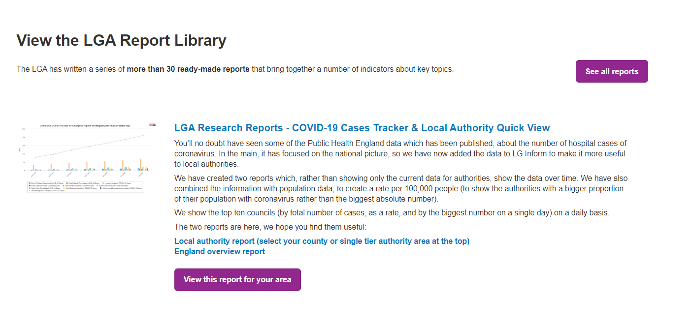Screenshot of the LGA Report Library and sample contents
