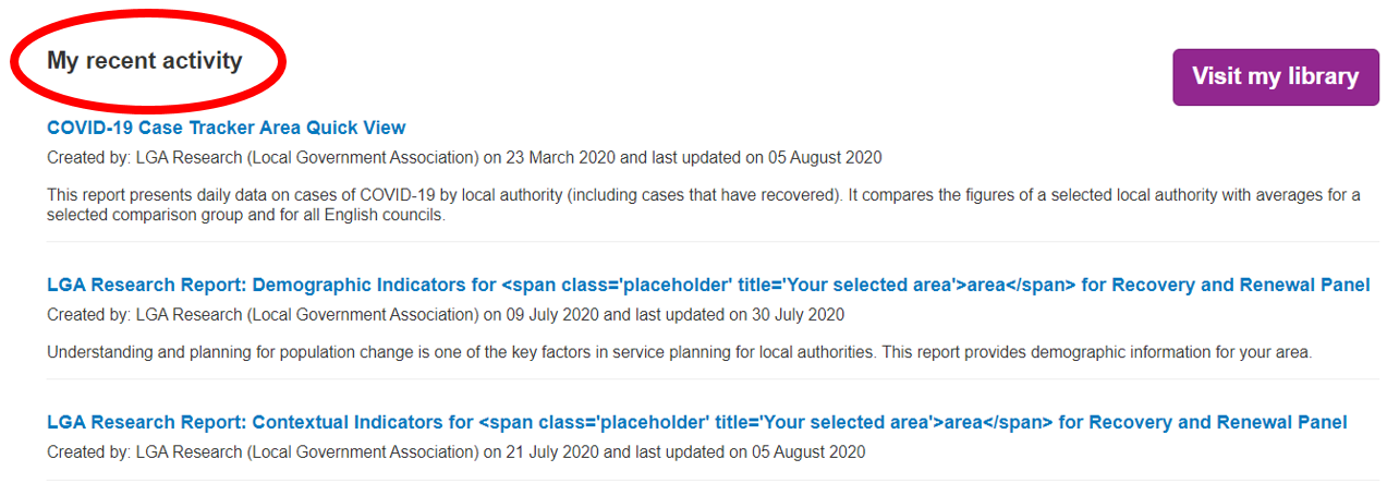 Screenshot of what appears as 'My Recent Activity'. A list of recent (five latest) actions undertaken by the user e.g. a report or a metric they have recently seen. page image