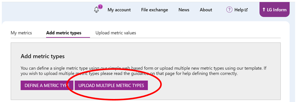 Screenshot showing the Upload multiple metric types button. This can be used to upload metrics type