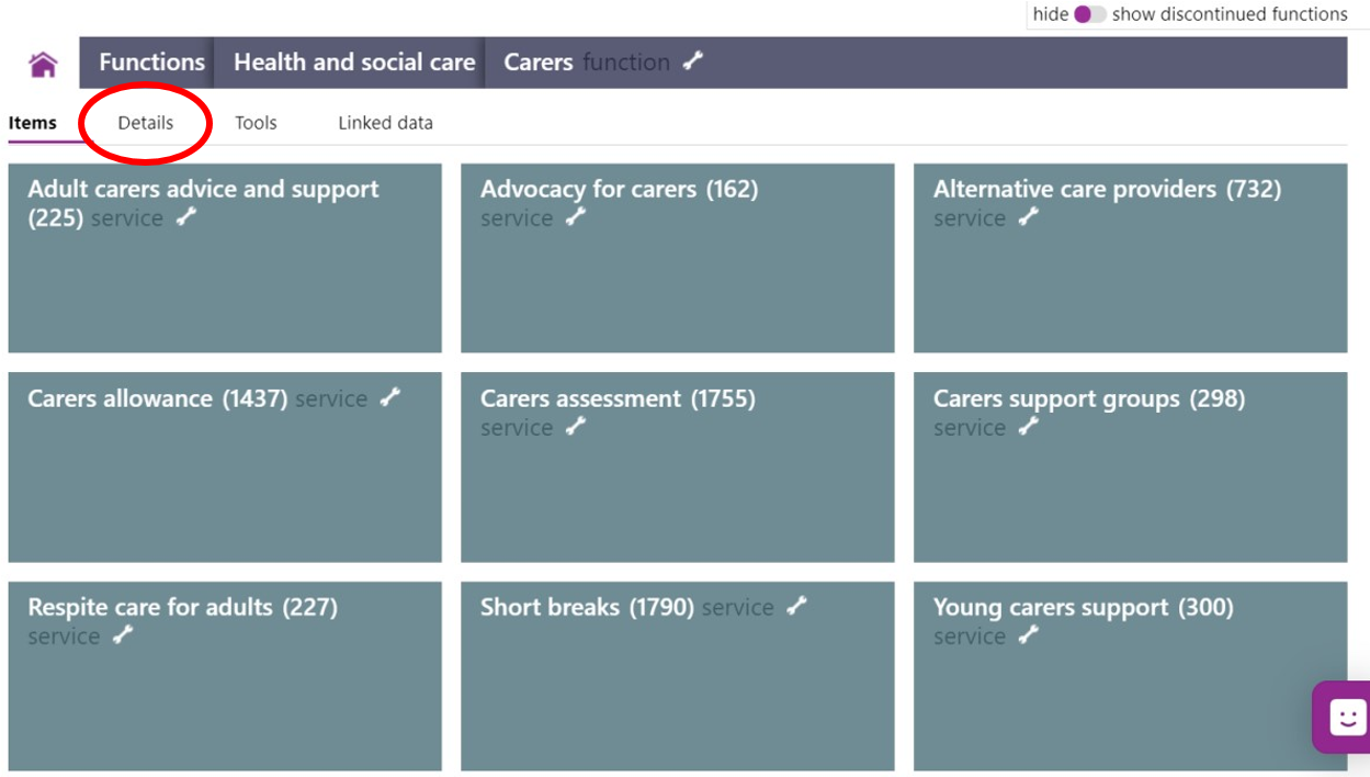 Screenshot showing performance metrics there might be for carers function under 'details'