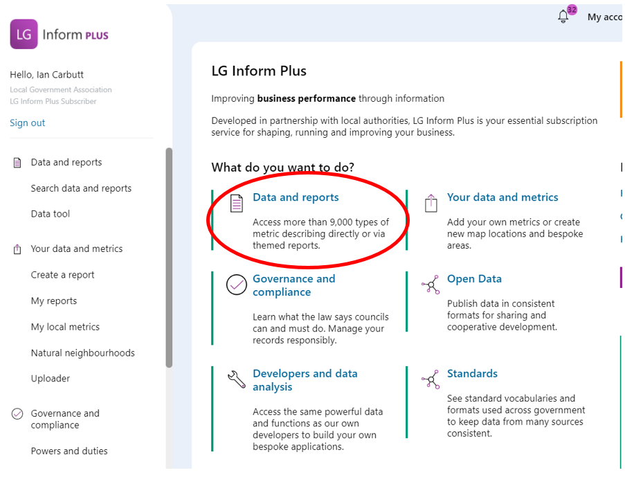 Screenshot of the landing page highlighting the link to the Data and Reports Hub page.