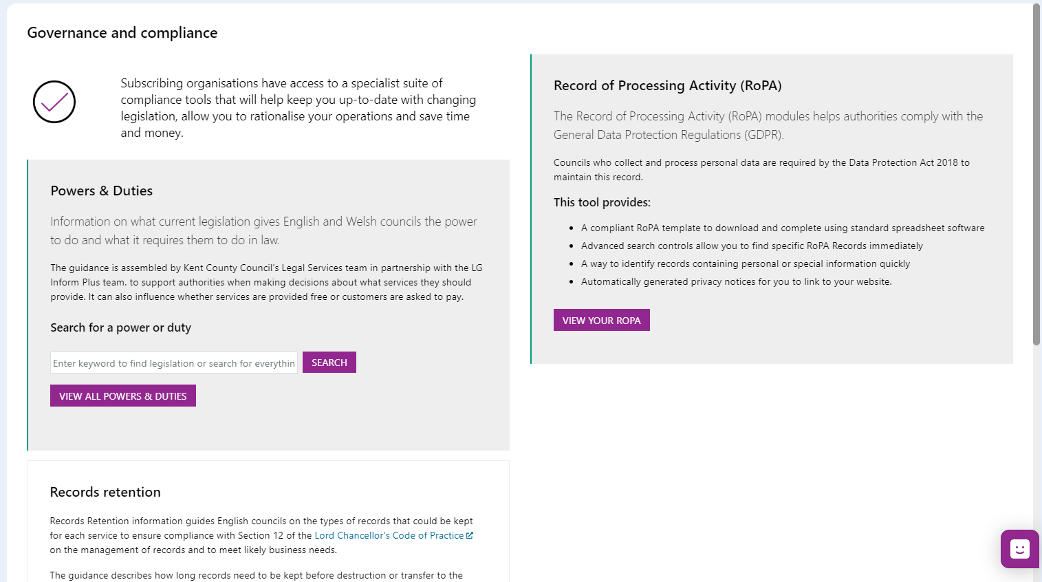 Screenshot of the Governance Hub page showing the introductory text for the Powers and Duties Module. introduction