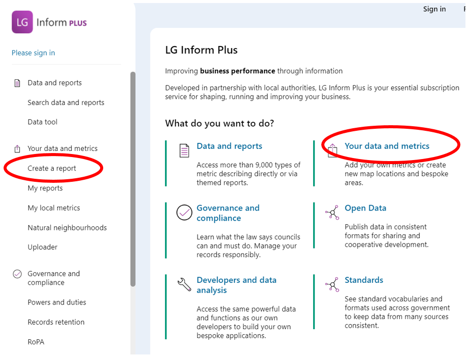 Screenshot of the landing page highlighting the 'Create report' link and the relevant Hub page.LGIP Report Builder access