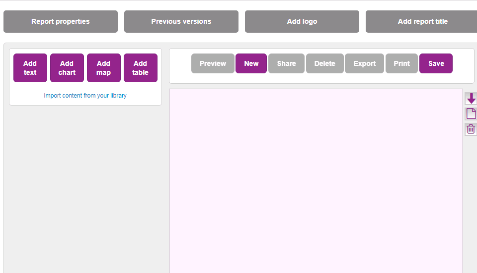 Screenshot showing the layout and controls which are used to create new LG Inform reports when inside the Report Builder tool.