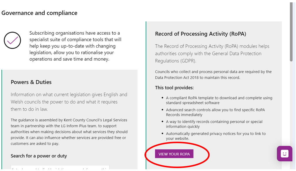 Screenshot of the Governance and compliance 'hub page' with a brief introduction about the RoPA functionality and link to it.