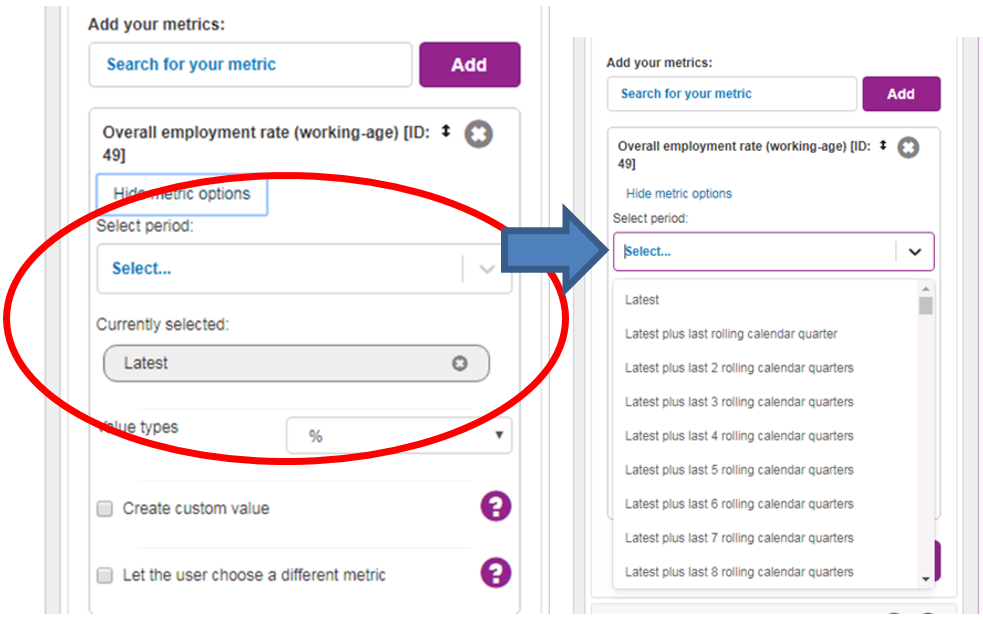 Screenshot showing within Metric Details users can see an option to select date period from a list