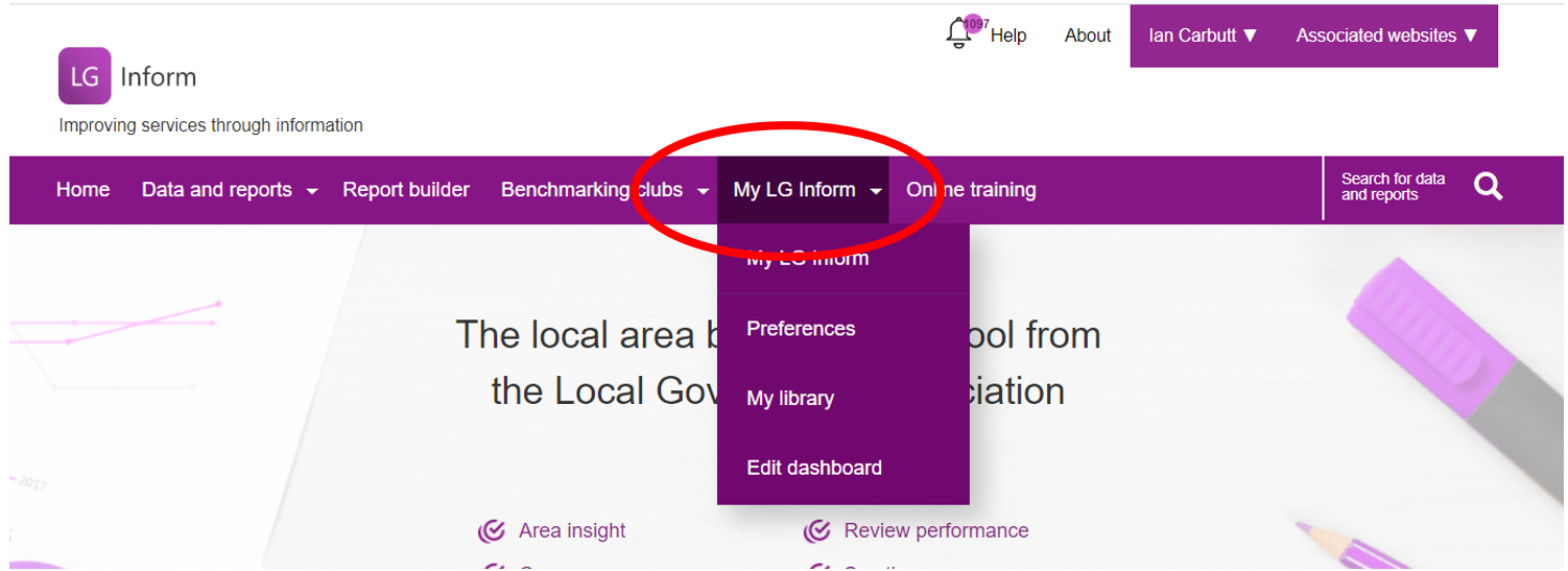 Screenshot showing the contents of the My LG Inform tab: Preferences, My Library and edit Dashboard.