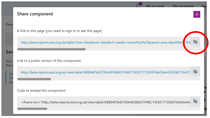 Screenshot of the sharing options.