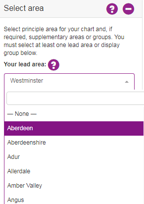 Screenshot showing how to select a local authority area. E.g. Westminster
