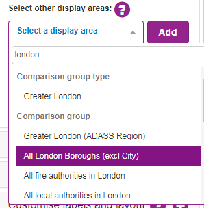 Screenshot showing how to select a display group e.g. All London boroughs.