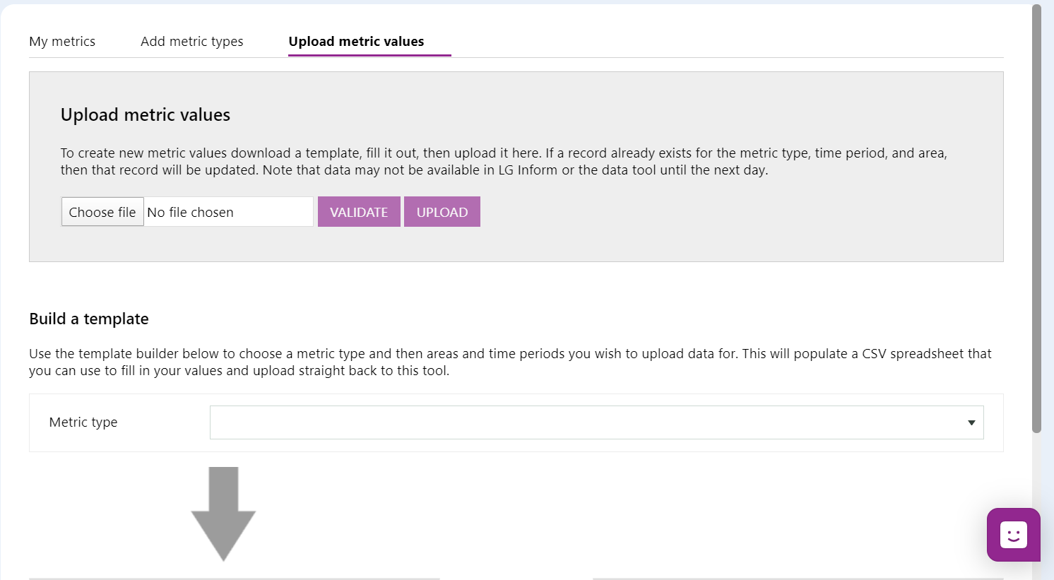 Screenshot of the steps required to build a data template. First select metric type.