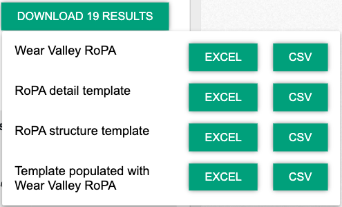 Screenshot of options to download Your RoPA on a spreadsheet