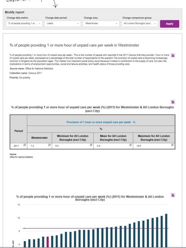 Screenshot of the LG Inform Standard Report.