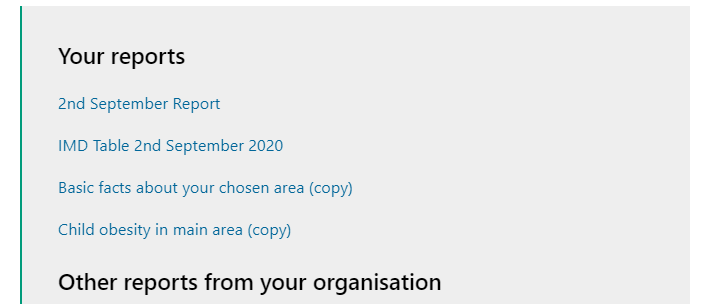 Screenshot showing where  'Your reports' appear on the Hub page