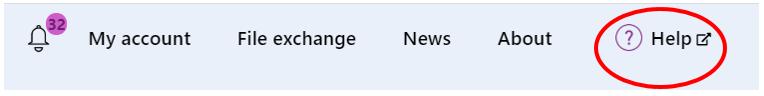 Screenshot of the top navigation highlighting the 'Help' button