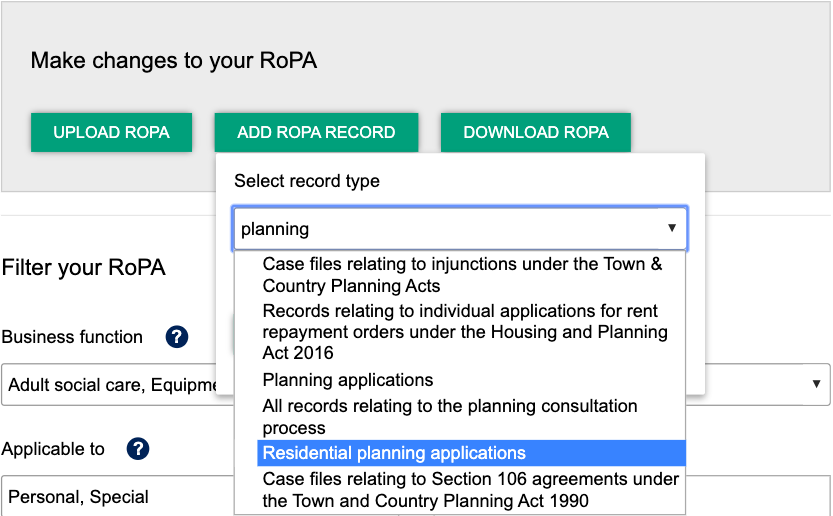 Screenshot showing how to add a RoPA Record