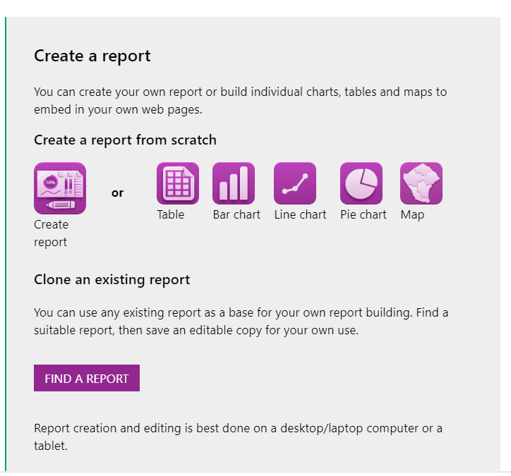 Screenshot showing where the FIND A REPORT button is.