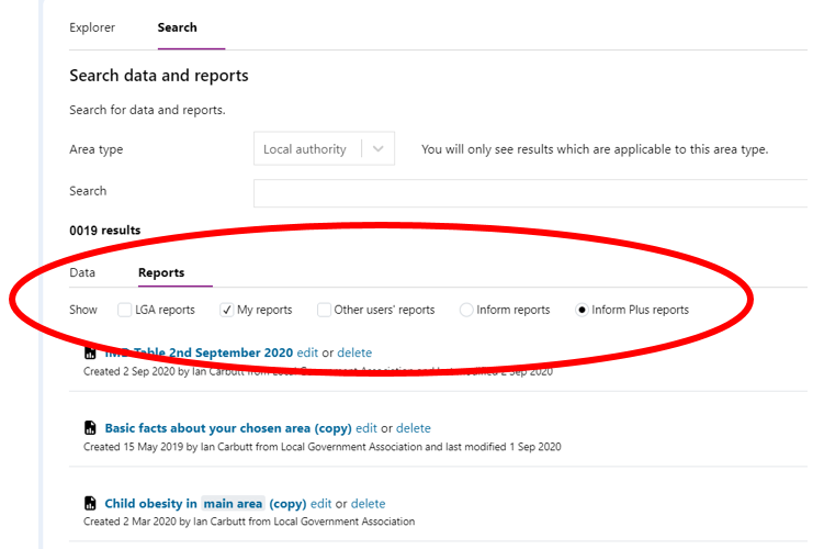 Screenshot showing the 'Search' Dialogue box. and where to select 'my reports' to filter