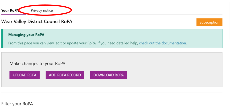 Screenshot highlighting the Privacy notice tab