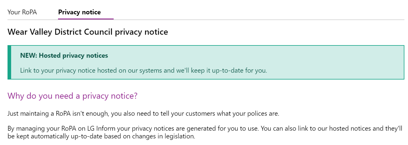 Screenshot of the contents of the Privacy notice tab