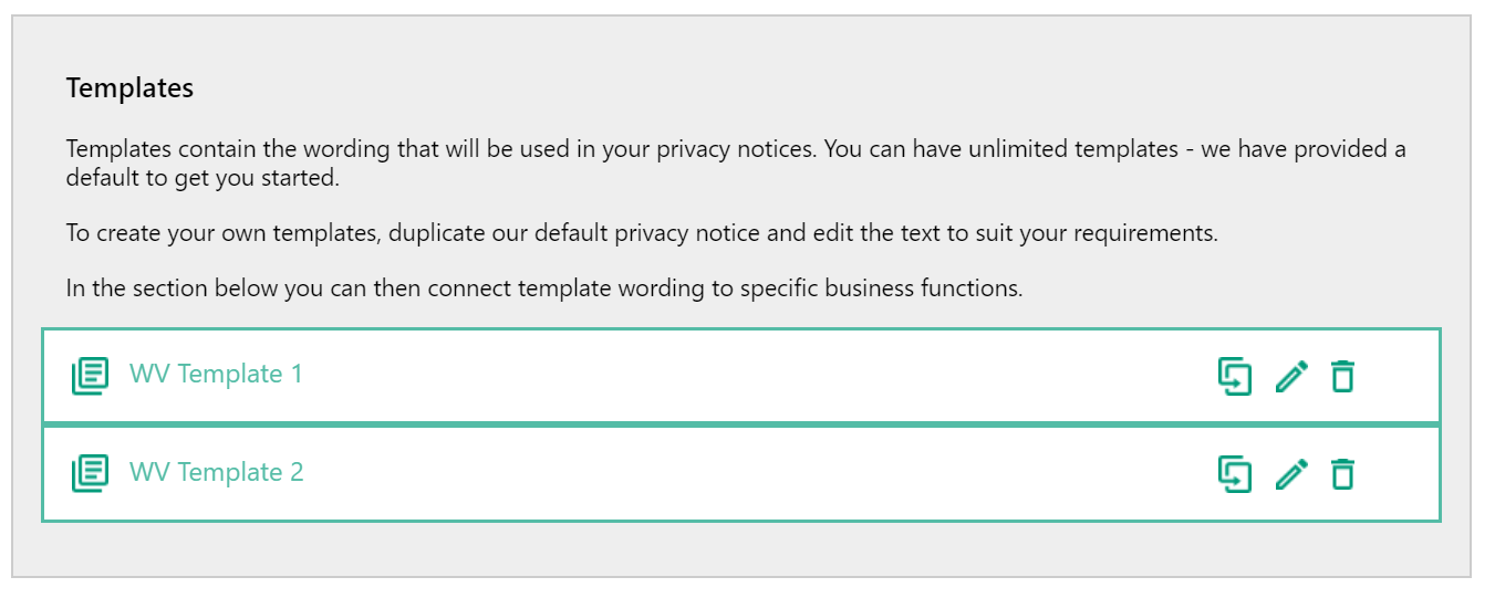 Screenshot of the available Privacy notice templates