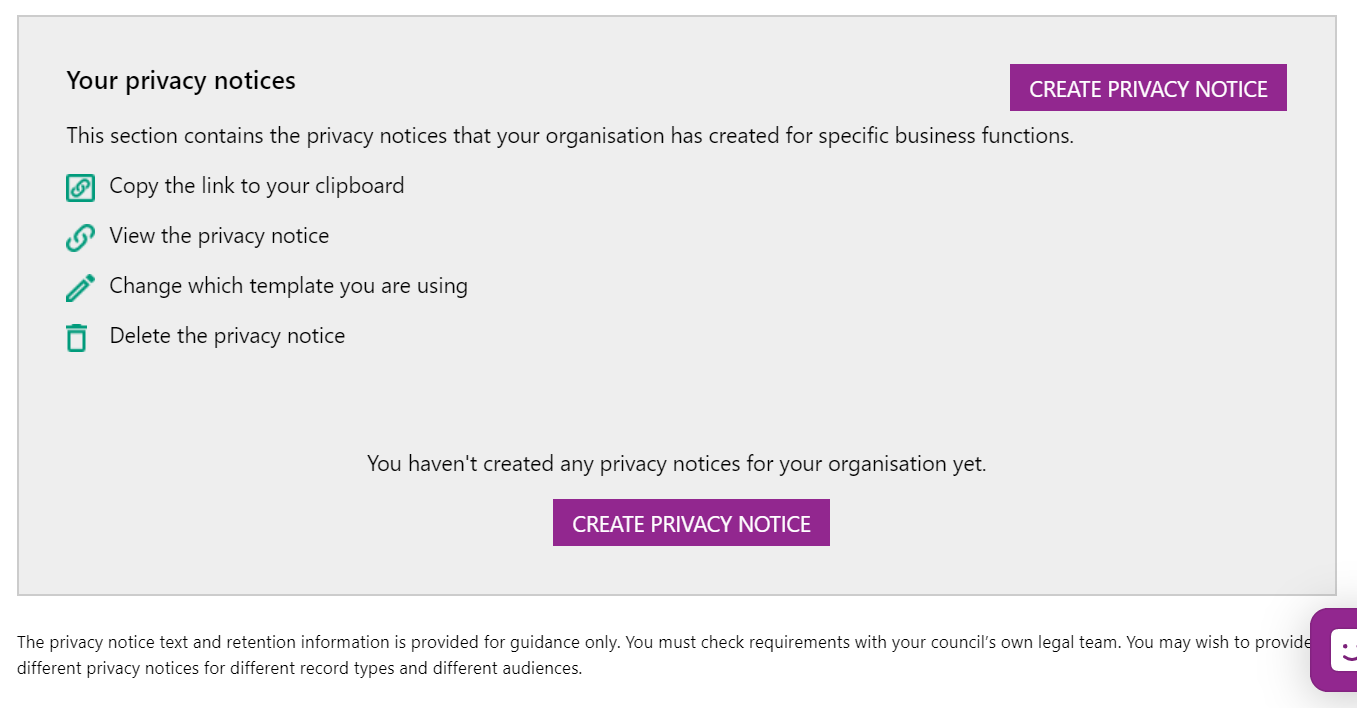 Screenshot highlighting the privacy notice options