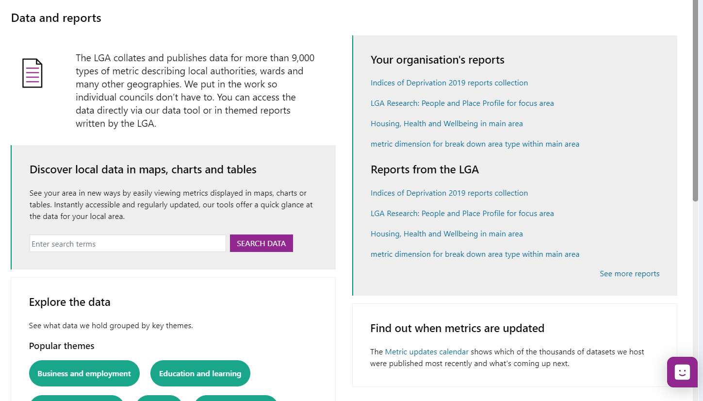 Screenshot of the Data and Reports 'Hub' page