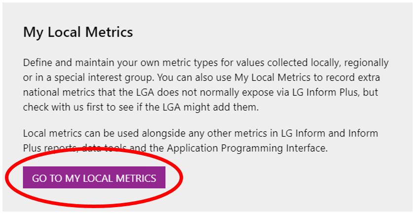 Screenshot of the Hub page showing the 'Go to My Local Metrics' button/link.