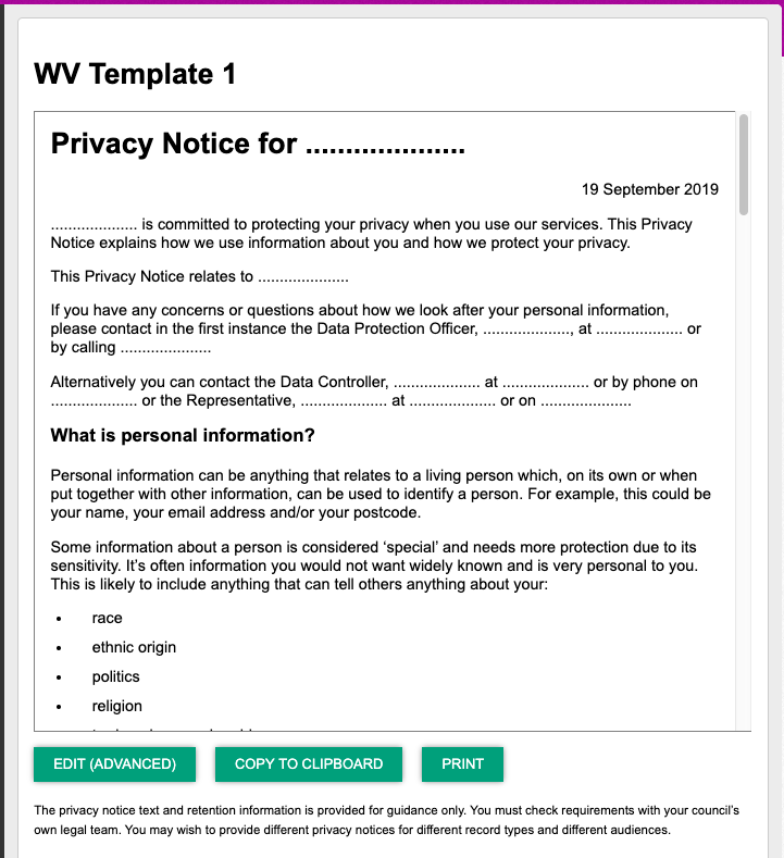 Screenshot of the new privacy notice created